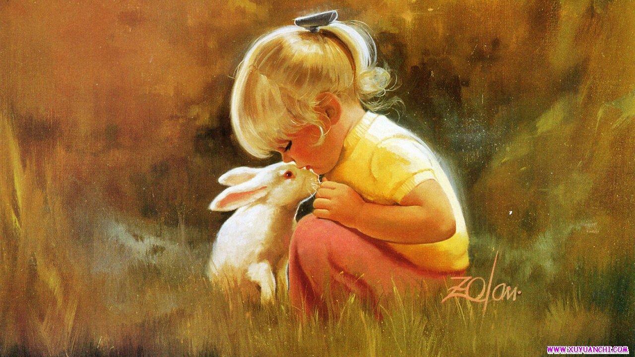 可爱小白兔与小女孩14寸笔记本宽屏标屏桌面高清壁纸